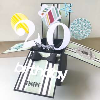 Happy 20 Birthday Pop Up Card I'm masculine for boyfriend / husband