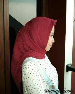 hijab mutiara lacy square