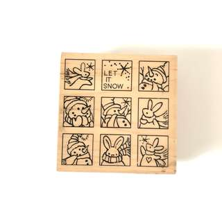 Stampendous Christmas festival wood rubber stamp