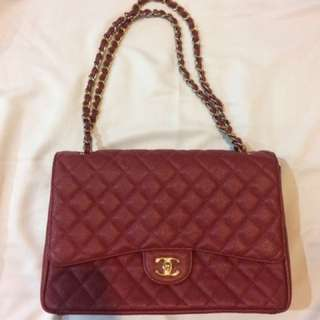 Chanel classic flap mirror quality caviar ori leather