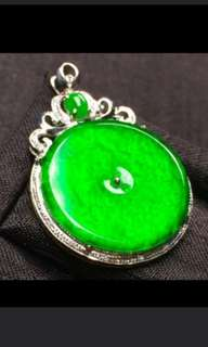 🍍18K White Gold - Grade A 冰种 Imperial Green Coin/平安扣 Jadeite Jade Pendant🍀