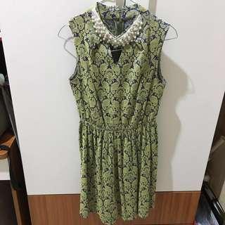 Premium lace green dress