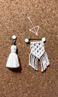 Mini macrame pin-on bag charm