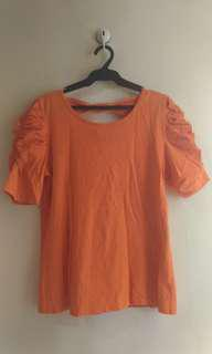 Plus Size Orange Puff Sleeve with Bow Detail