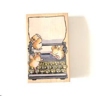 Little mice rats on typewriter wood stamp block