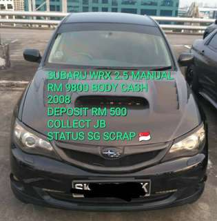 SUBARU WRX 2.5 MANUAL RM 9800 BODY CASH 2008 DEPOSIT RM 500 COLLECT JB STATUS SG SCRAP 🇸🇬