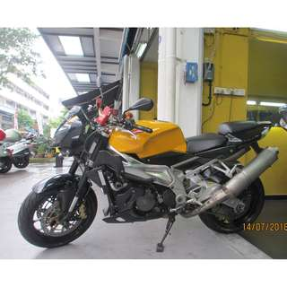Aprilia Tuono 1000 Mar 2012 $7.5k D/P $500 or $0 With out insurance (Terms and conditions apply. Pls call 67468582 De Xing Motor Pte Ltd Blk 3006 Ubi Road 1 #01-356 S 408700.