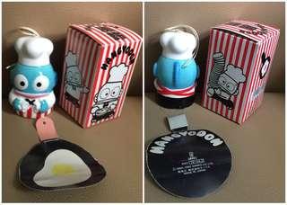 ** 分享 ** Sanrio Hangyodon 水怪 1990 年 陶瓷人形廚師風鈴 (Made in Japan)