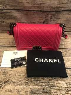 Chanel boy 25 桃小牛皮