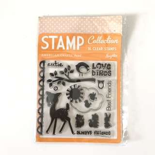 American craft animal spring clear cling rubber stamp