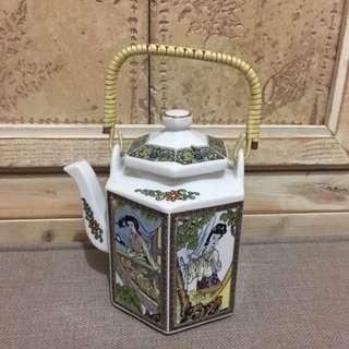 🚚 陶瓷 六面古仕女圖 茶壺