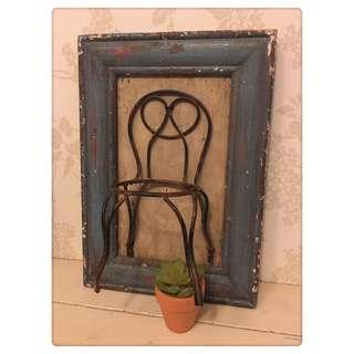 🚚 復古 鐵製椅 實木相框