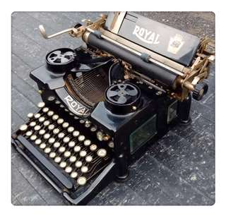 🚚 1900's Royal No .10 Manual Typewriter Double Glass Sides Black X-721120 百年歷史古董打字機