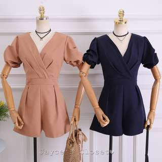[4 colours] V-Neck Puff Sleeve Romper