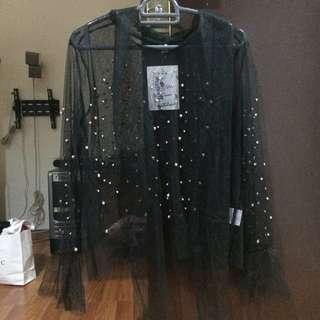 Jaring pearl blouse hitam + tanktop dalaman