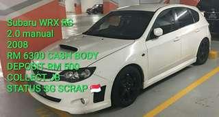 Subaru WRX RS 2.0 manual 2008 RM 6300 CASH BODY DEPOSIT RM 500 COLLECT JB STATUS SG SCRAP 🇸🇬