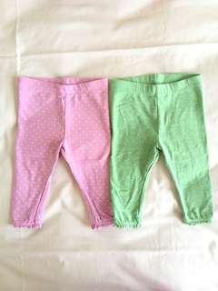 Mothercare leggings green and pink purple polkadot