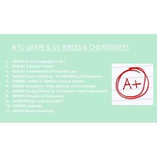 NANYANG TECHNOLOGICAL (NTU) GERPE & UE BIBLES & CHEATSHEETS