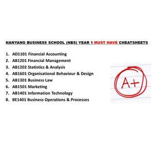 NANYANG BUSINESS SCHOOL (NBS) YEAR 1 MUST HAVE CHEATSHEETS