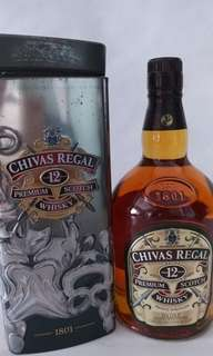 CHIVAS Regal whisky 12年(1L) 鐵盒