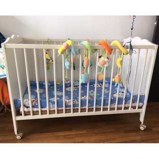 White Baby Cot With Wheels