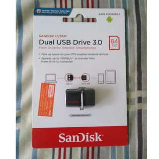 Sandisk Ultra Dual USB Drive 3.0 64GB