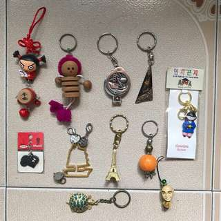 Keychain Key Holder chains holders China doll dolls wa wa drum red hk Hong Kong hongkong Bali beach Indo Indonesia wood Paris Eiffel Tower Korean Korea