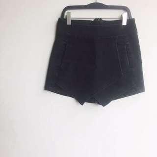 High Waist Black Denim Skort #July70