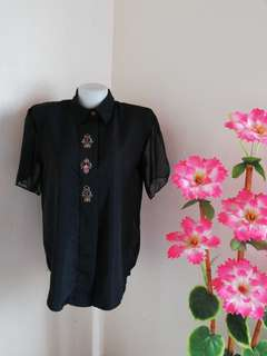 Black Embroidered Blouses