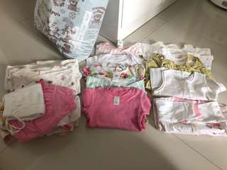 (0-6M) Baby Girl Clothes In Bundle