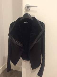 Kookai black shearling leather jacket 36