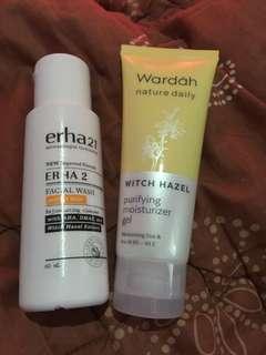 Erha facial wash for oily skin dan wardah purifying gel