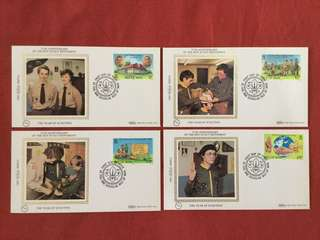 1982 Isle Of Man 75th Anniversary Of Boy Scout Movement Issue On Four Separate Benham Silk Cachet Covers