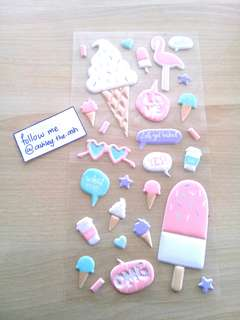 DAISO X2 SHEETS of <ICE CREAM> FUWAFUWA (foam) STICKERS [EACH PACKET SOLD SEPARATELY]