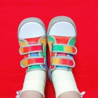 古著 超可愛彩虹黏黏大頭鞋