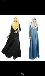 Hot Raya Long Dress Muslim Long Sleeve Abaya Women Maxi Islamic