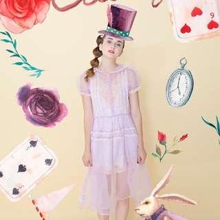 古著 設計師品牌 紫色點點紗洋裝