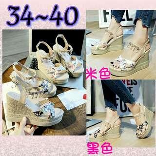 #預購 #女鞋 夏季新款小清新坡跟女鞋 435元 顏色👉黑/米 尺碼👉34~40