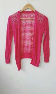 Hot Pink Cardigan with Lace Back Details