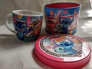Stitch 杯 + Stitch 鐵罐 (一套)
