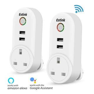 1383. WiFi Smart Plug, Smart Socket Outlet with USB Port, Voice Control with Amazon Alexa and Google Home, Remote Control, Timing Function, Control Your Lights and Appliances from Anywhere (UK)(2 PCS)