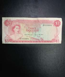 Bahamas 3 dollars 1968 currency act