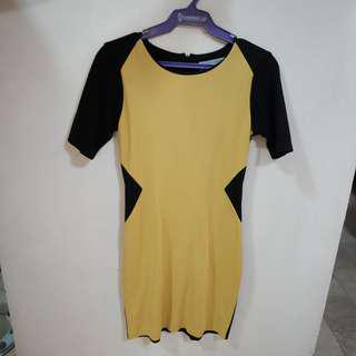 Ensembles Black and Yellow Corporate Dress