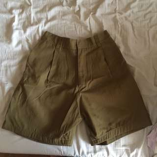 High Waisted Army Green Shorts