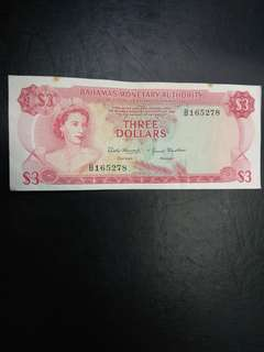 Bahamas Monetary Authority 3 dollars 1968