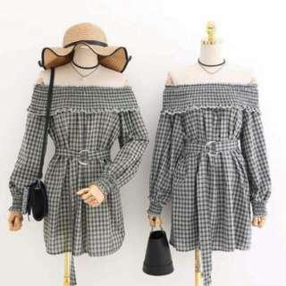 Checkered off shoulder Dress #July100