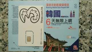 KOREA 韓國 上網卡 6日 4G 3GB +128kbps 無限數據卡 SIM CARD