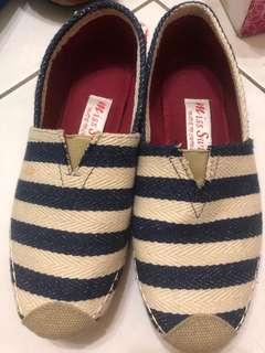 英倫風藍色條紋休閒平底鞋~38
