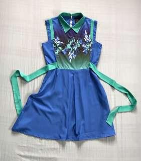 Plain&prints blue dress