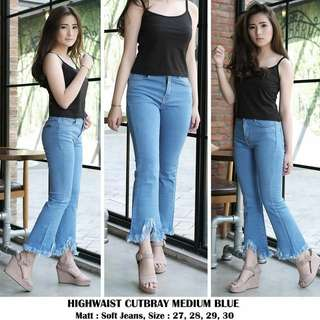 Celana Jeans Wanita / Highwaist Cutbray Medium --Restock--